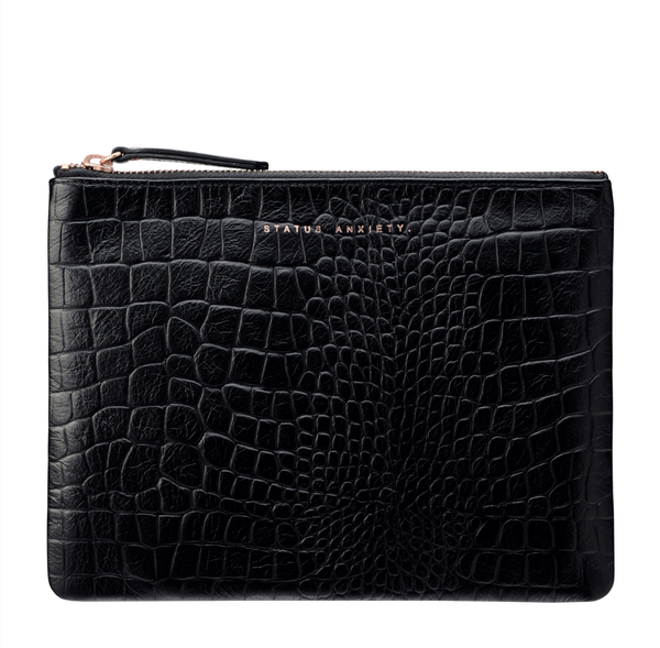 Status Anxiety Fake it Black Croc Clutch