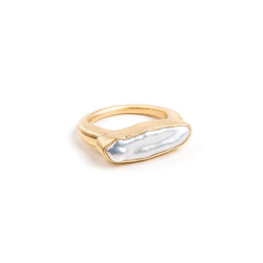 Fairley Pearl Bar Ring Gold