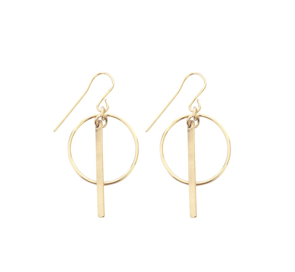 Misuzi Ring and Bar Earrings Gold
