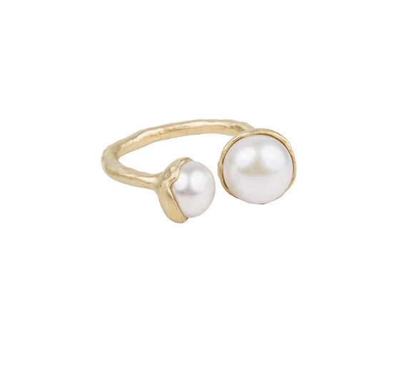 Fairley Double Pearl Ring Gold
