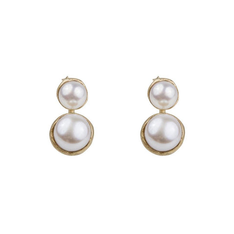Double Pearl Ear Jackets Gold