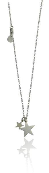Misuzi Double Star Necklace Silver
