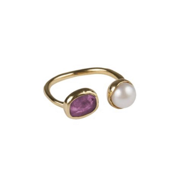 Fairley Pearl and Pink Sapphire ring