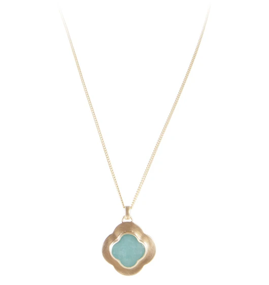 Fairley Amazonite Clover Necklace Gold