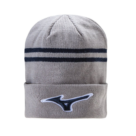 New Mizuno RunBird Beanie Hat- Grey/Navy - Bogies R Us Golf Shop LowCountry Custom Golf