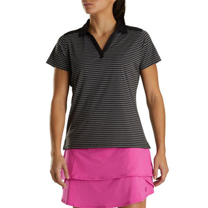 FootJoy Women's Lisle Tonal Stripe Open Neckline Polo- Black