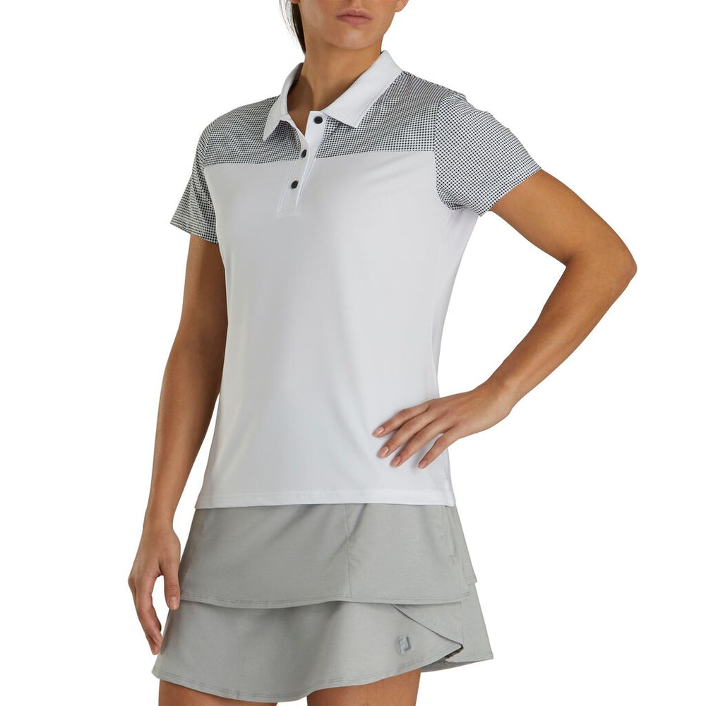 FootJoy Women's Lisle Dot Print Yoke Polo- White