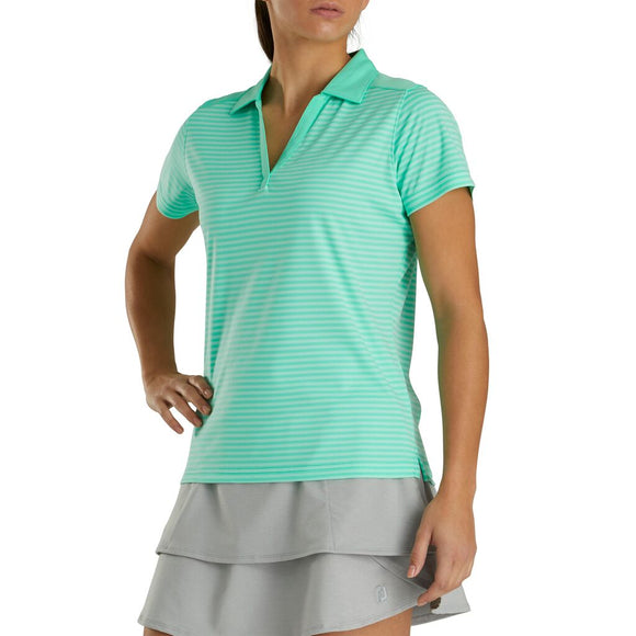 FootJoy Women's Lisle Tonal Stripe Open Neckline Polo- Heather Jade