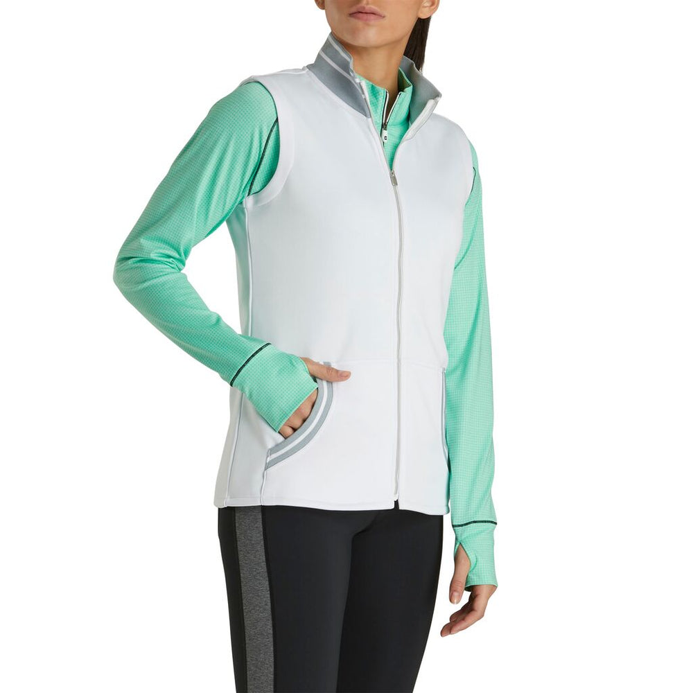 FootJoy Women's Texture Knit Full-Zip Vest- White/Heather Grey