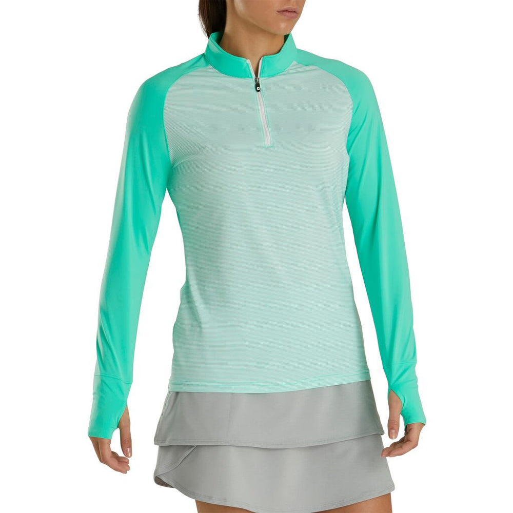 FootJoy Women's Long Sleeve Sun Protection Polo- Jade/White