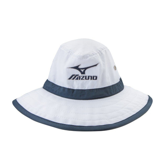 New Mizuno Large Brim Sun Hat  White/Navy- S/M - Bogies R Us Golf Shop LowCountry Custom Golf