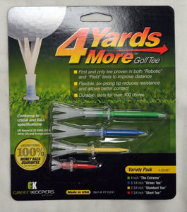 4 Yards More Golf Tees Combo Pack - 1 Pack of 4 Tees