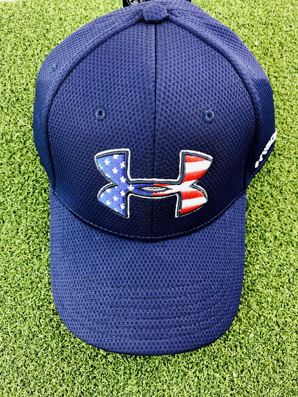 2ca39d53e37 Under Armour Men s Blitzing Stretch Fitted Hat Cap- Midnight Navy- L XL
