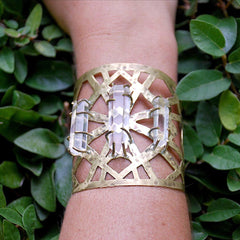 Wide Sacred Geo Cuff w/ Clear Quartz Crystal Points by Raw Elements Jewelry