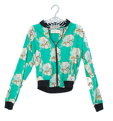 Floral Skully Bomber Jacket