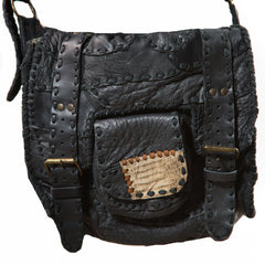 Buckled Leather Shoulder Bag