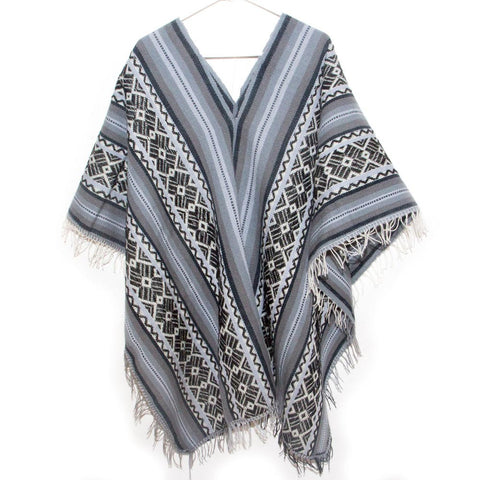 Alpaca Knit Hooded Cape Poncho