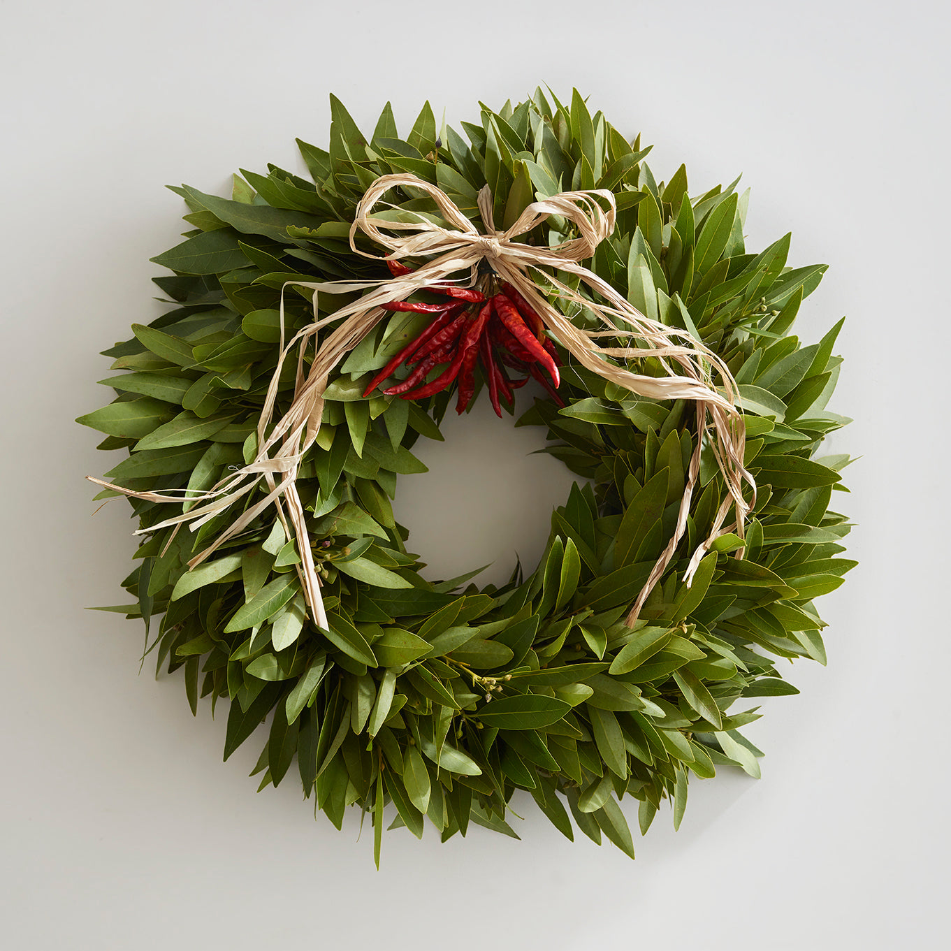 Bay Leaf Wreath with Chilies & Raffia Bow