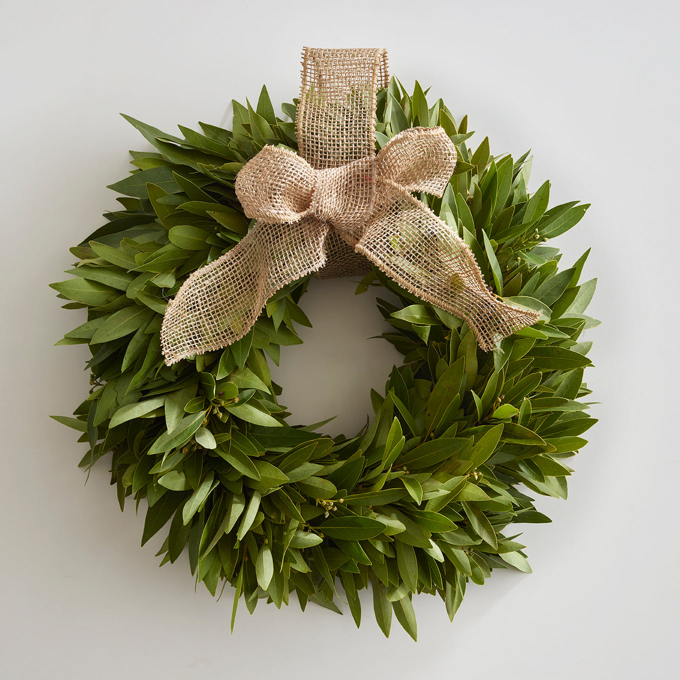 Bay Leaf Wreath with Jute Bow