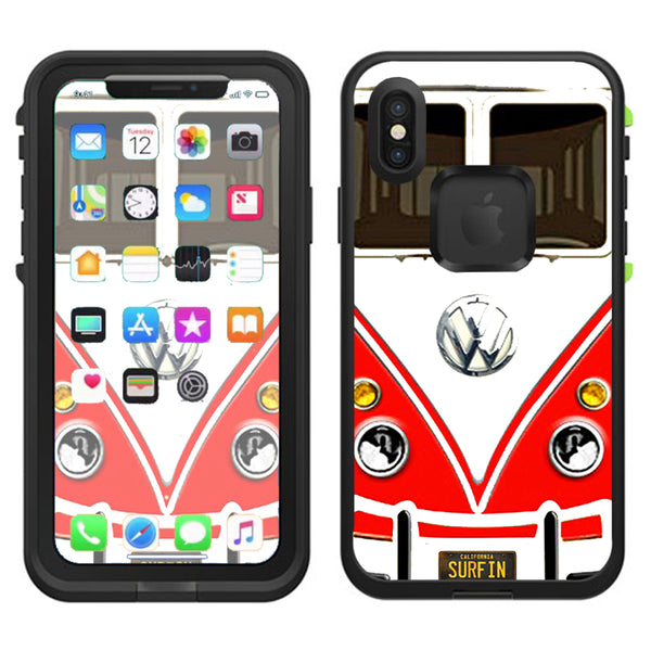 cheap for discount 2d111 b9e19 Vw Bus Red, Split Surfer Lifeproof Fre Case iPhone X Skin