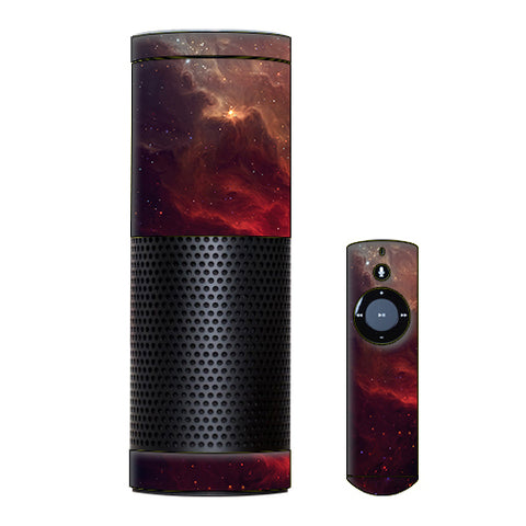 Red Galactic Nebula Amazon Echo Skin