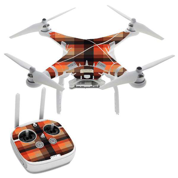 Orange Brown Plaid DJI Phantom 3 Professional Skin
