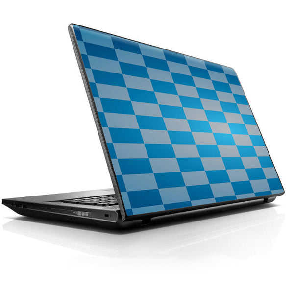 Blue Grey Checkers Universal 13 to 16 inch wide laptop Skin