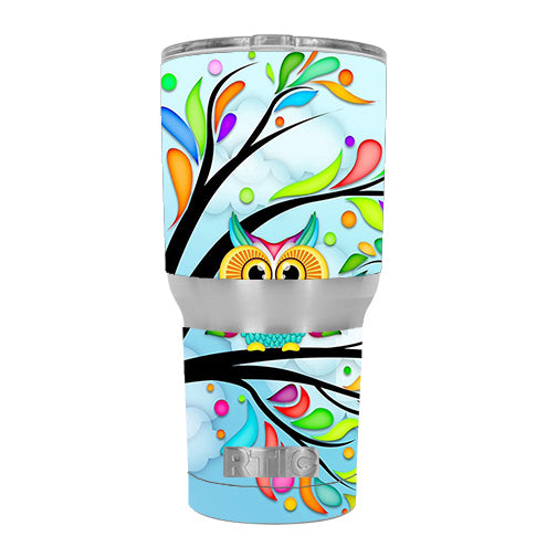 Colorful Artistic Owl In Tree RTIC 30oz Tumbler Skin