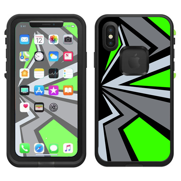 best loved 8a202 2ccd4 Triangle Pattern Green Grey Lifeproof Fre Case iPhone X Skin