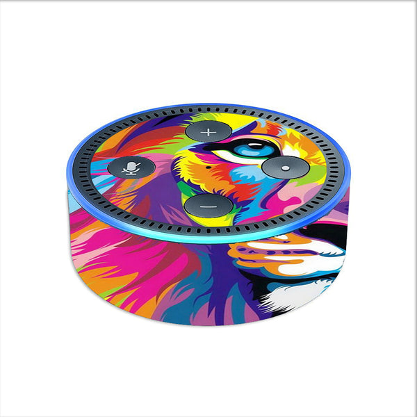 Colorful Lion Abstract Paint Amazon Echo Dot 2nd Gen Skin