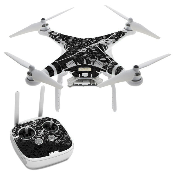 Skulls Pattern Denim Look DJI Phantom 3 Professional Skin