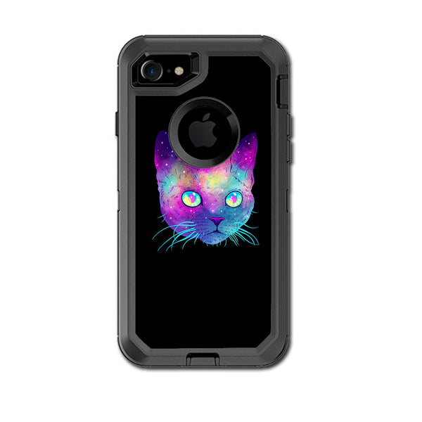 reputable site d5ace e62ef Colorful Galaxy Space Cat Otterbox Defender iPhone 7 or iPhone 8 Skin