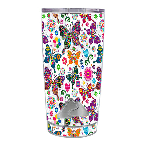 Butterflies Colorful Floral Ozark Trail 20oz Tumbler Skin