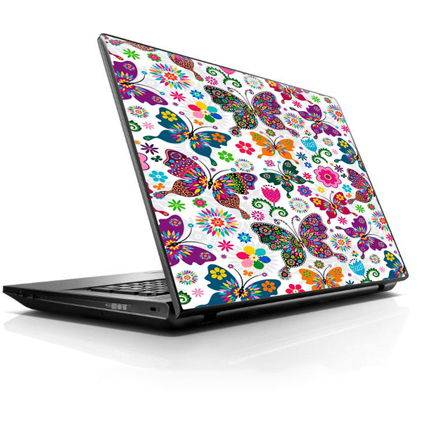 Butterflies Colorful Floral Universal 13 to 16 inch wide laptop Skin