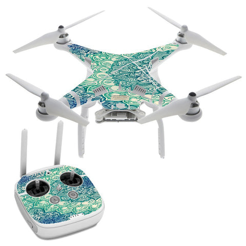 Teal Green Mandala Pattern DJI Phantom 3 Professional Skin