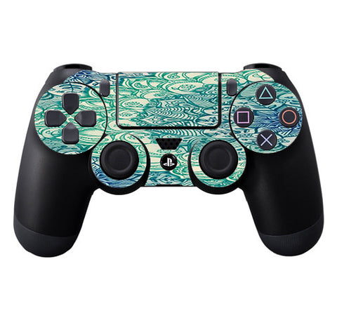 Teal Green Mandala Pattern Sony Playstation PS4 Controller Skin