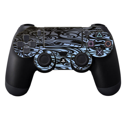 Blue Grey Paisley Abstract Sony Playstation PS4 Controller Skin