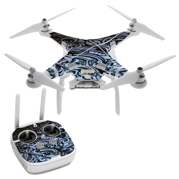 Blue Grey Paisley Abstract DJI Phantom 3 Professional Skin