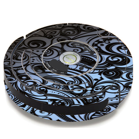 Blue Grey Paisley Abstract iRobot Roomba 650/655 Skin