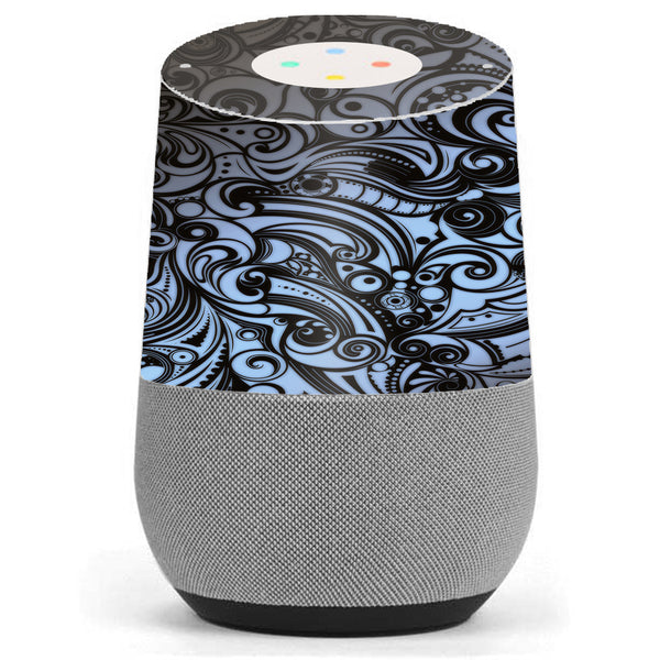 Blue Grey Paisley Abstract Google Home Skin