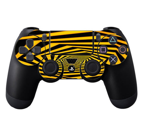 Black Yellow Trippy Pattern Sony Playstation PS4 Controller Skin