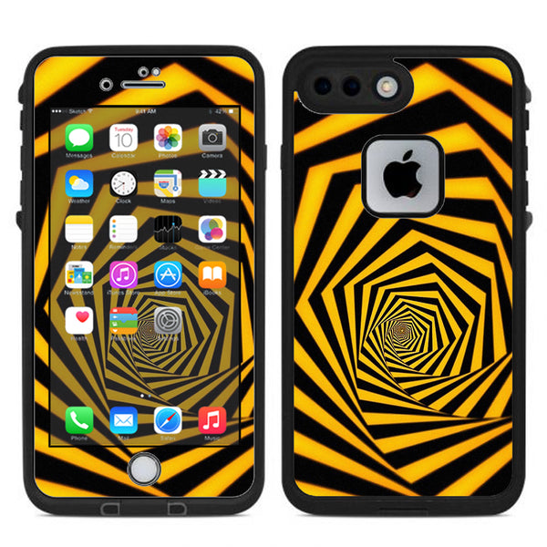 free shipping 66e98 483d0 Black Yellow Trippy Pattern Lifeproof Fre iPhone 7 Plus or iPhone 8 Plus  Skin