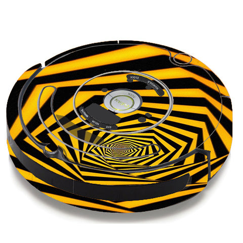 Black Yellow Trippy Pattern iRobot Roomba 650/655 Skin