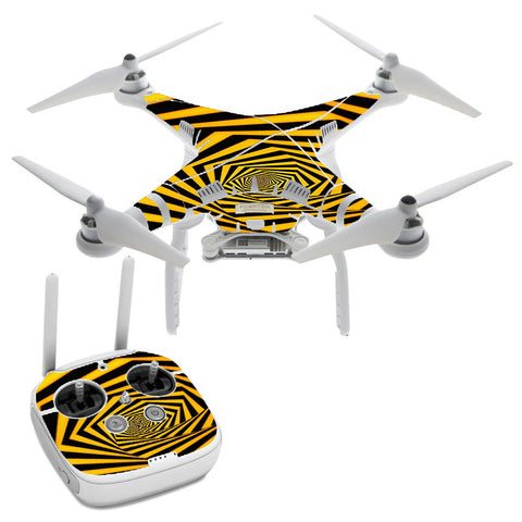 Black Yellow Trippy Pattern DJI Phantom 3 Professional Skin