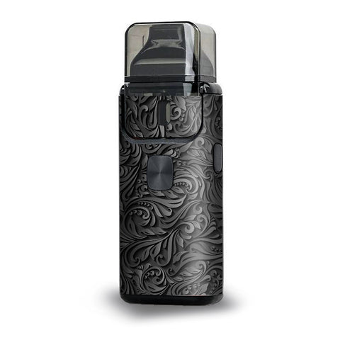 Black Flowers Floral Pattern Aspire Breeze 2 Skin
