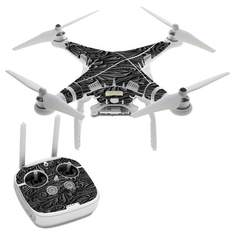 Black Flowers Floral Pattern DJI Phantom 3 Professional Skin