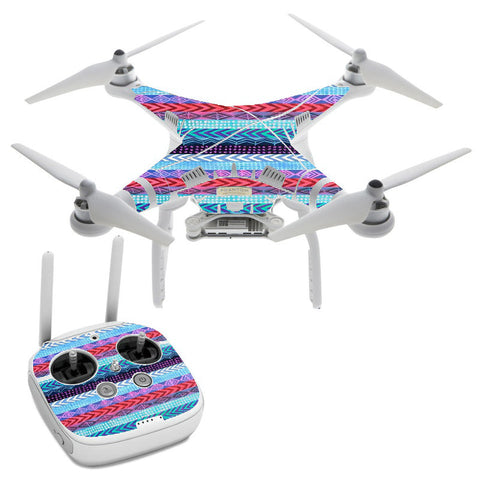 Aztec Blue Tribal Chevron DJI Phantom 3 Professional Skin