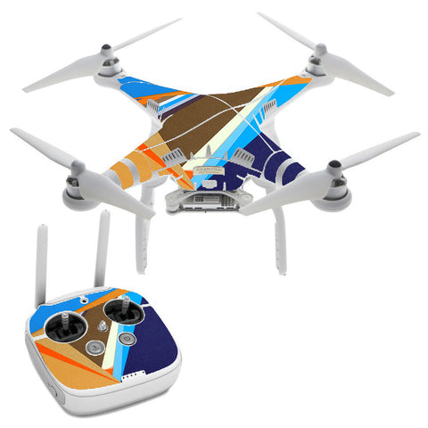 Abstract Patterns Blue Tan DJI Phantom 3 Professional Skin