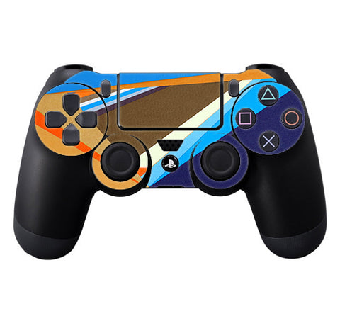 Abstract Patterns Blue Tan Sony Playstation PS4 Controller Skin