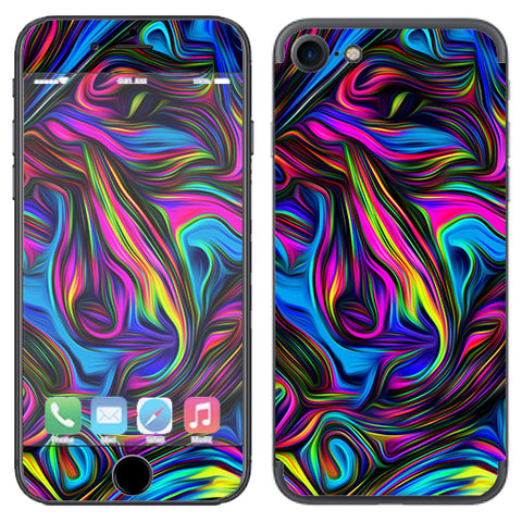 Neon Color Swirl Glass Apple iPhone 7 or iPhone 8 Skin